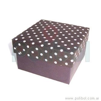 Caja de cartón con tapa a lunares