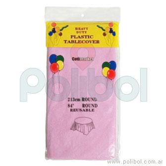 Mantel plástico redondo 213cm. color rosa