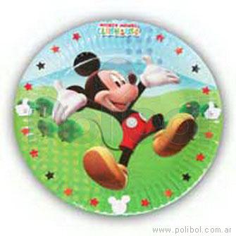 Platos de cartón de cotillón Mickey