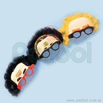 Careta de frente con anteojos y pelo