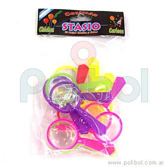 Mini lupas plásticas de colores.