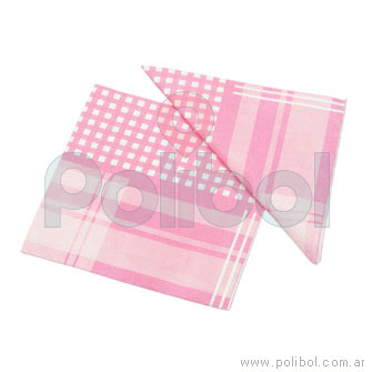 Servilletas de 33 x 33 cm. color rosa con cuadros y rayas