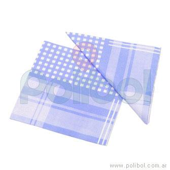 Servilletas de 33 x 33 cm. color celeste con cuadros y rayas