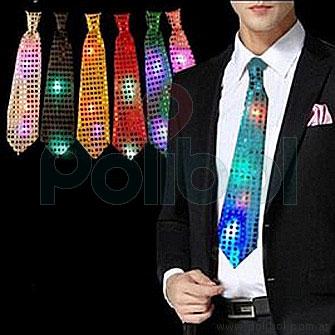 Corbata con lentejuelas y luz led