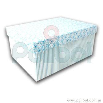 Caja forrada a rayas color celeste y blanco 35x25cm.