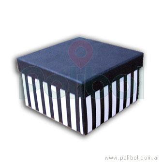 Caja forrada a rayas color negro y blanco 15x15xm.