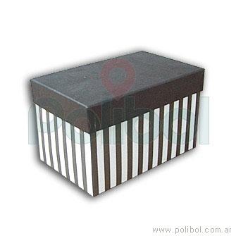 Caja forrada a rayas color negro y blanco 12x12cm.