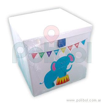 Caja forrada 29x29x29cm. Elefante de circo