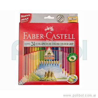 Lápices de colores largos ecológicos con grip x24