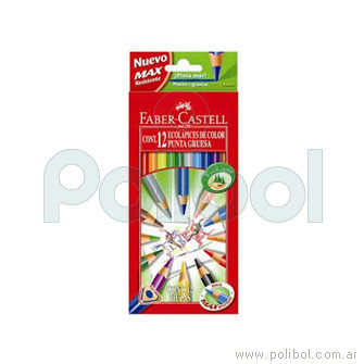 Lápices de colores con punta gruesa y largos x12