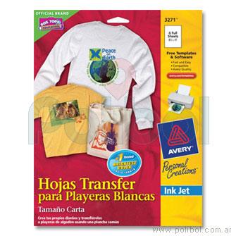 Hojas Transfer, para impresoras InkJet, 3271