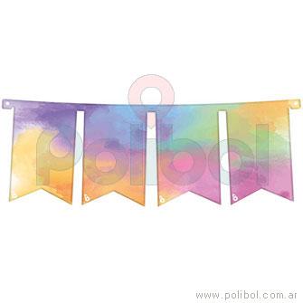 Banderín grande pastel multicolor
