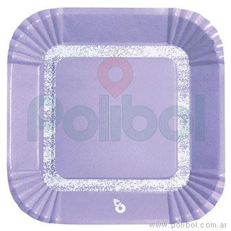 Plato cuadrado pastel lila