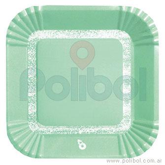 Plato cuadrado pastel verde