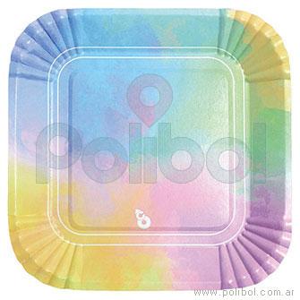 Plato cuadrado pastel multicolor