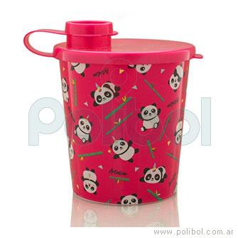 Vaso rojo con tapa