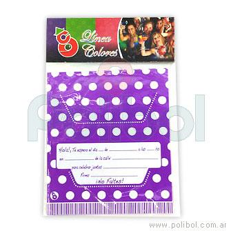 Invitaciones violeta a lunares x 10