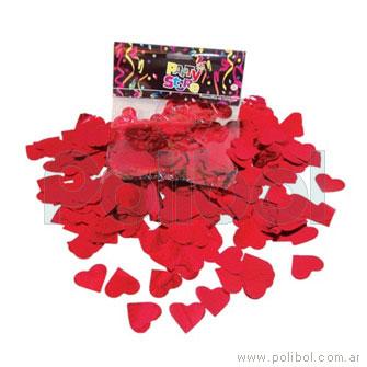 Bolsa de papelitos de corazones metalizados, color rojo