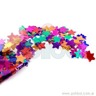 Bolsa de papelitos estrella metalizados, colores surtidos en la bolsa