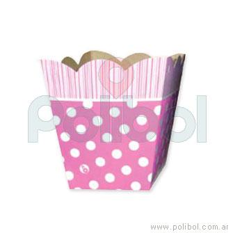 Cajita pochoclera de cartón Lunares rosa x6