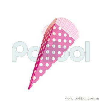 Cono de cartón lunares rosa x6