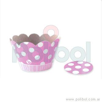 Cubre cupcakes lunares rosa x10