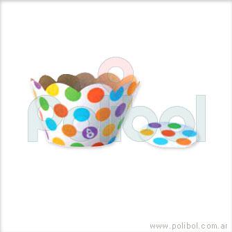 Cubre cupcakes lunares multicolor x10