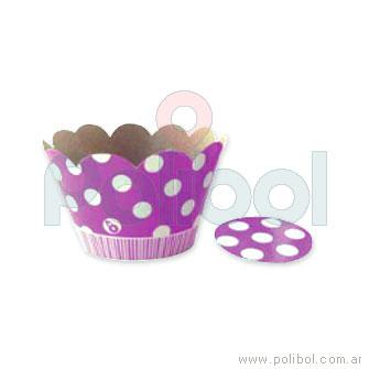 Cubre cupcakes lunares violeta x10