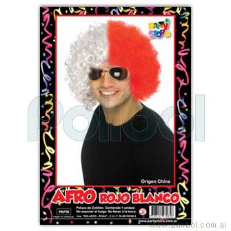 Peluca afro rojo y blanco