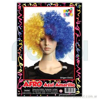 Peluca afro azul y amarillo