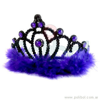 Corona negra con plumas