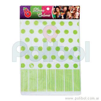 Mantel de plástico de lunares verde manzana
