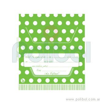 Invitaciones troqueladas con lunares verde manzana x10
