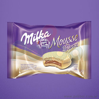 Alfajor chocolate blanco con mousse 6u.