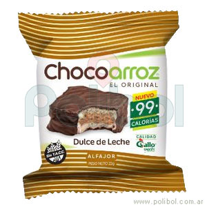 Alfajor de arroz de chocolate 28 gr.