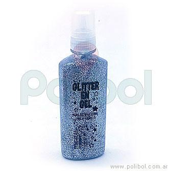 Glitter en gel plateado